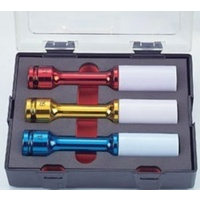 3pc Wheel Nut Deep Impact Socket (Colored)